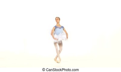 ballerina dancer in tutu showing her techniques - Young...