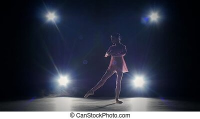 Young ballerina girl dancer in studio. silhouette. slow...