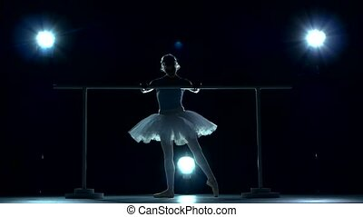 young ballerina standing near a in a dance class