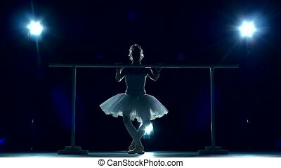 Young ballerina standing near barre, slow motion