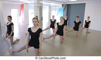 Young ballerinas dressed in black uniform stand in pose in dancing class.