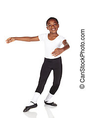 Young Ballet Dancer - Young African ballet boy on white...