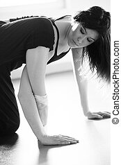 young ballet dancer woman doing stretching