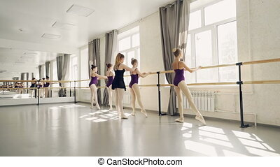 Young ballet dancers are practising leg positions at ballet...