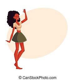Young barefooted african american woman dancing