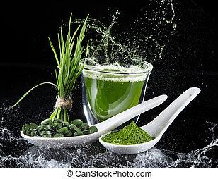 Young barley and chlorella spirulina. Detox superfood.