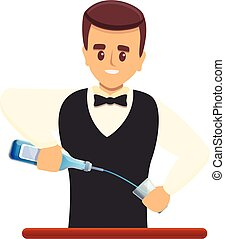 Young bartender icon, cartoon style