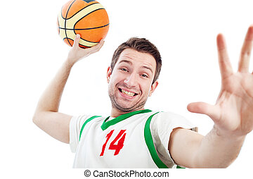 Young basketball player is dunking. - Close up of young...