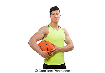 Young basketball player isolated on white