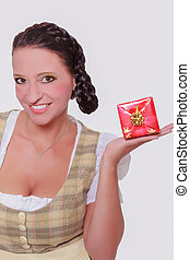 Young Bavarian woman in dirndl with