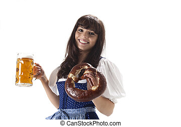 young bavarian woman with a beer
