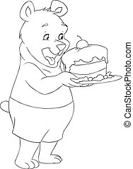 Young Bear Holding A Cake Coloring Page