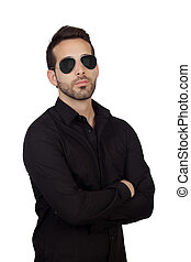 Young bearded businessman with sunglasses