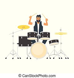 young bearded drum musician