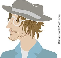 Young bearded man in a stylish hat. Hipster, professional artist. In glasses and a suit. Portrait. vector character