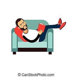 Young bearded man lying on a light blue armchair and reading a book vector Illustration