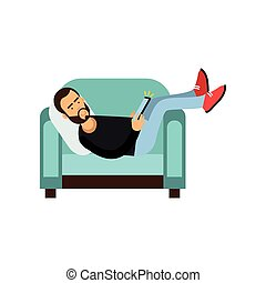 Young bearded man lying on a light blue armchair and using a tablet, man with electronic device vector Illustration