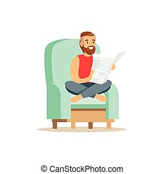 Young bearded man sitting on a light blue armchair and reading a newspaper, man resting at home vector Illustration