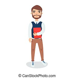 Young bearded man standing with a book in his hands cartoon character vector Illustration