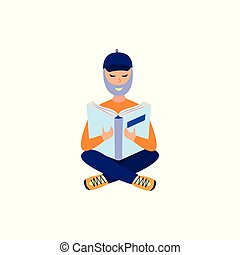 Young bearded man studying with reading book - flat male ...
