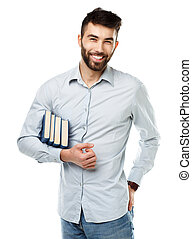 Young bearded smiling man with books in hand on white