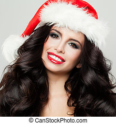 Young Beautifu Brunette Girl in Christmas Hat Smiling, Closeup New Year Portrait