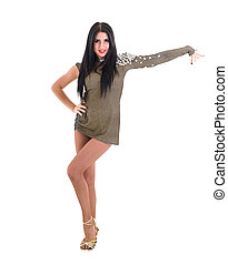 Young beautiful adult girl wearing elegant short dress