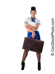 Young beautiful air hostess - Attractive young stewardess...