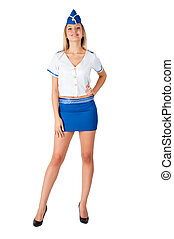 Young beautiful air hostess smiles - Attractive young...