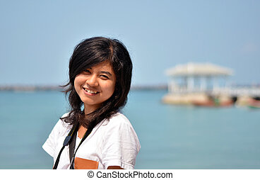 beautiful asian girl on the seaside