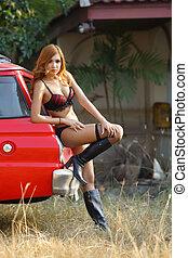 Young beautiful Asian woman in lingerie voluptuous posing...