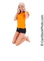 Young beautiful asian woman jumping of joy - Asian people