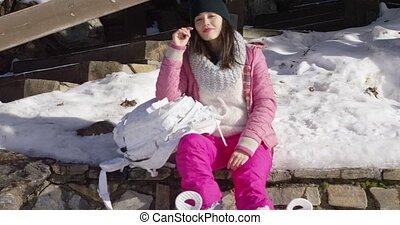 Young beautiful asian woman relaxing during winter