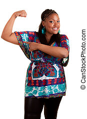 Young beautiful black woman showing her muscle