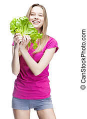 young beautiful blond woman holding salad