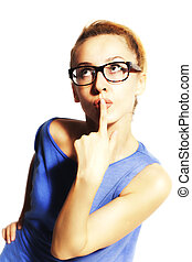Young beautiful blond woman in glasses