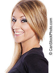 blond woman posing