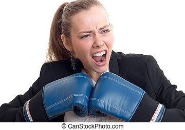 young beautiful blonde who opened her mouth and screams and keeps near himself in boxing gloves close-up