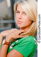 Young beautiful blonde woman portrait