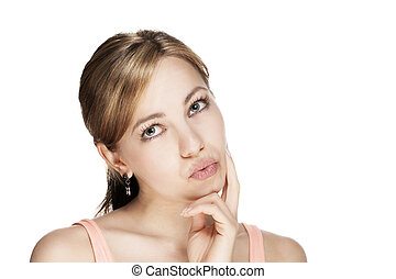 young beautiful blonde woman thinking about something on white background