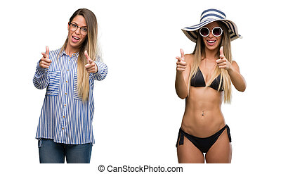 Young beautiful blonde woman wearing business and bikini...