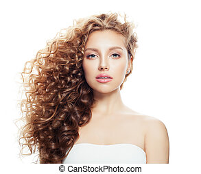 Young beautiful blonde woman with healthy skin and blowing wavy hair isolated