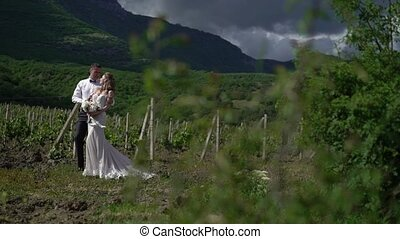 Young beautiful bride in a wedding dress and groom hugging and kissing