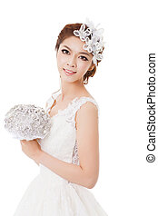 Young beautiful bride with flowers