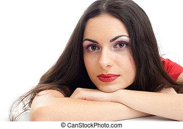 Young beautiful brunette woman closeup portrait