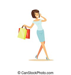 Young beautiful brunette woman in an elegant clothes walking with shopping bags and talking on mobile phone colorful character vector Illustration