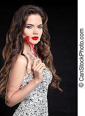 Young beautiful brunette woman portrait
