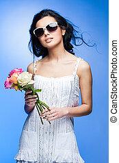 young beautiful brunette woman wearing glasses