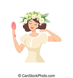 Young Beautiful Brunette Woman with Flower Wreath in Her Hair, Portrait of Happy Elegant Girl with Floral Wreath Vector Illustration
