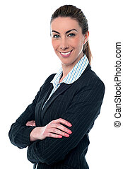 Young beautiful business woman posing